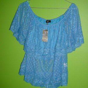 LOVE J NWT On Or Off Shoulder Lace Blouse Size XL